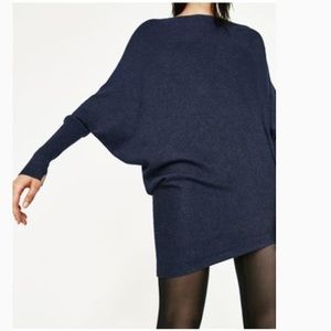 ZARA Asymmetric Dolman Sleeve Heather Gray Sweater